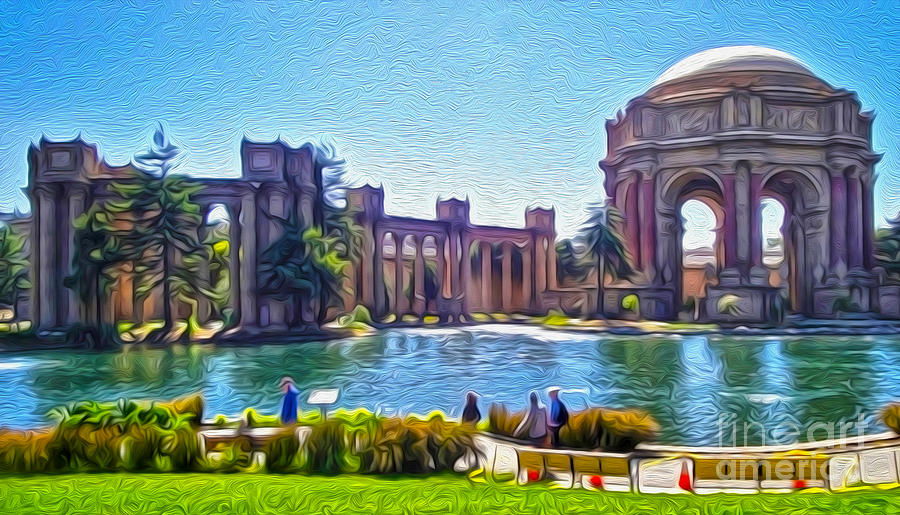San Francisco - Palace Of Fine Arts - 02 Painting  - San Francisco - Palace Of Fine Arts - 02 Fine Art Print