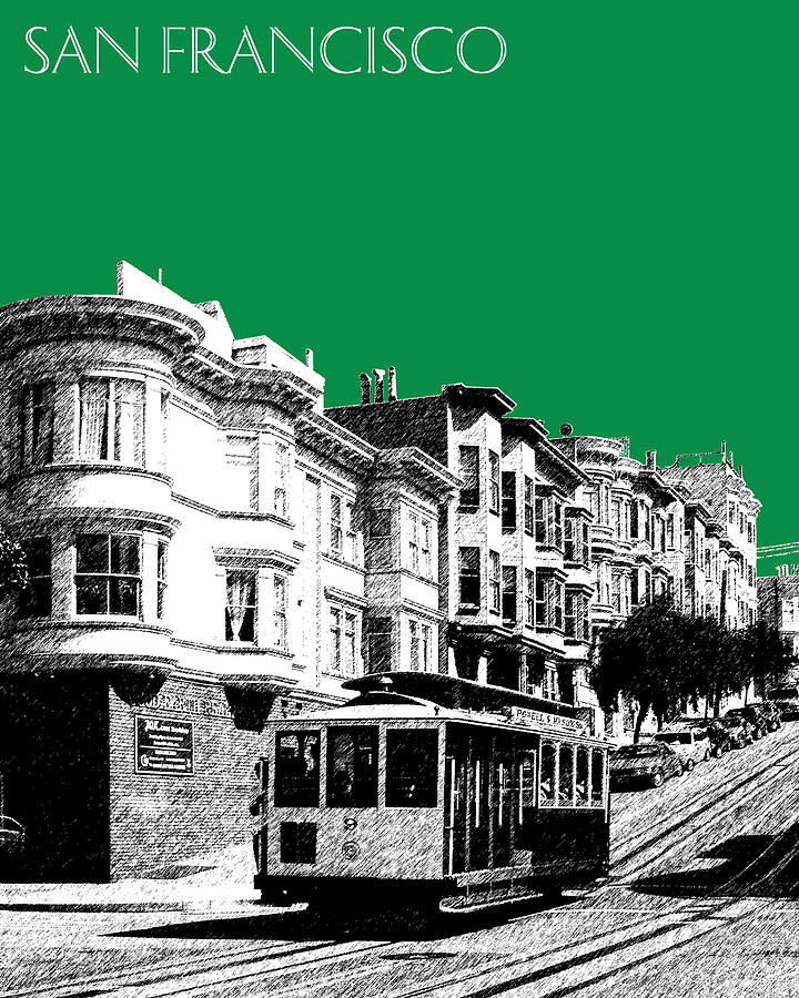 Architecture Digital Art - San Francisco Skyline Cable Car 2 - Forest Green by DB Artist