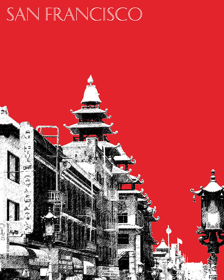 San Francisco Skyline Chinatown - Red Digital Art