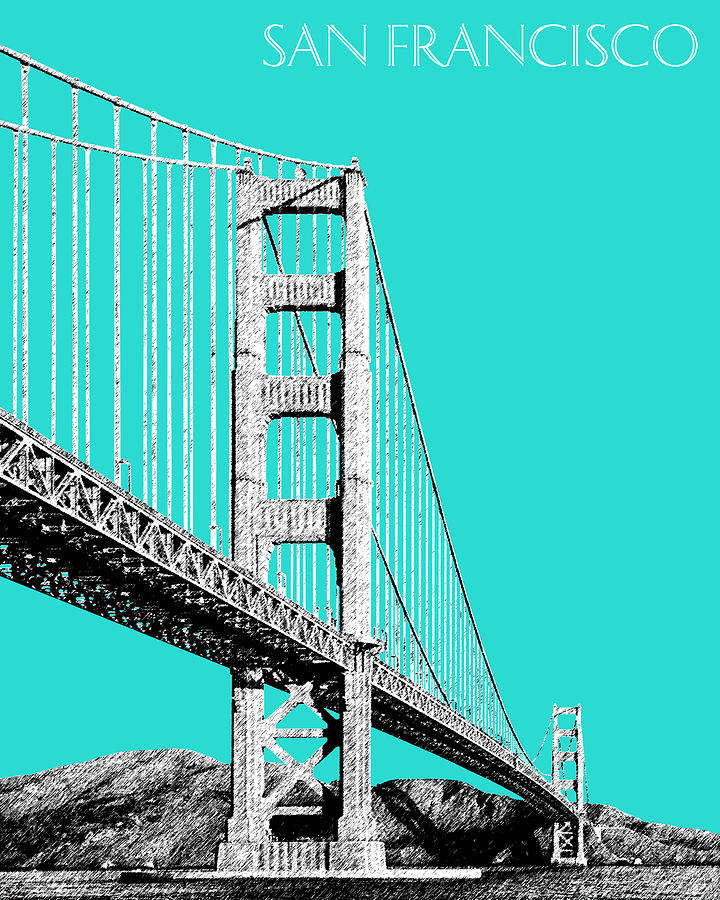 San Francisco Skyline Golden Gate Bridge 2 - Aqua Digital Art