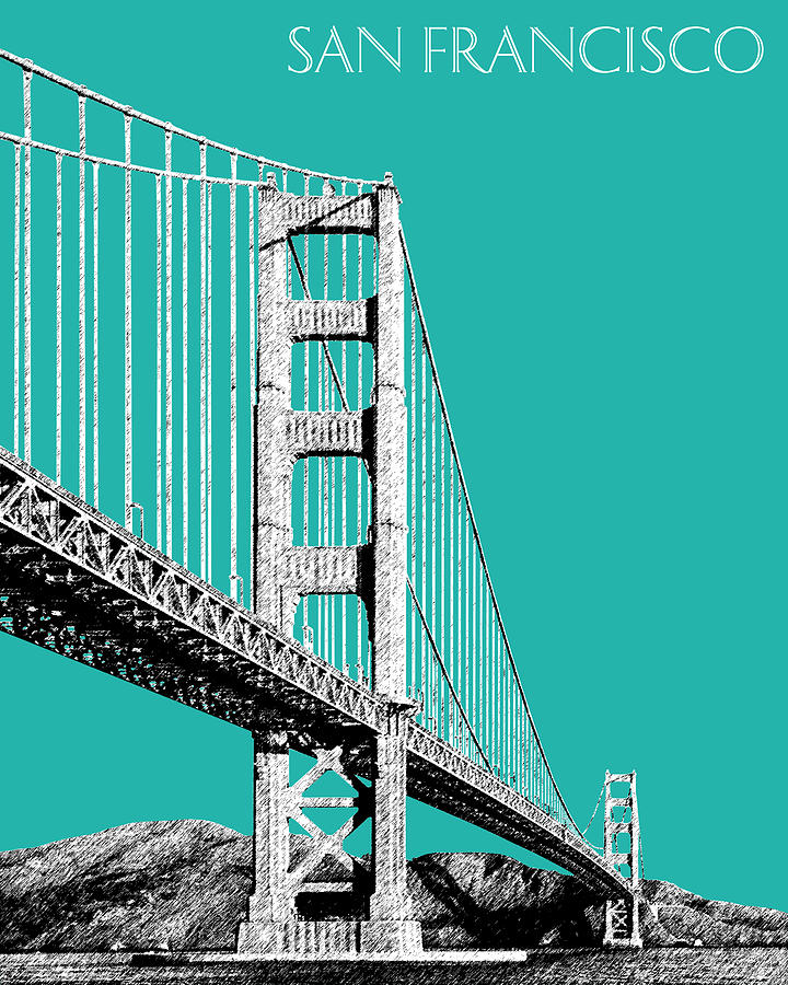San Francisco Skyline Golden Gate Bridge 2 - Teal Digital Art