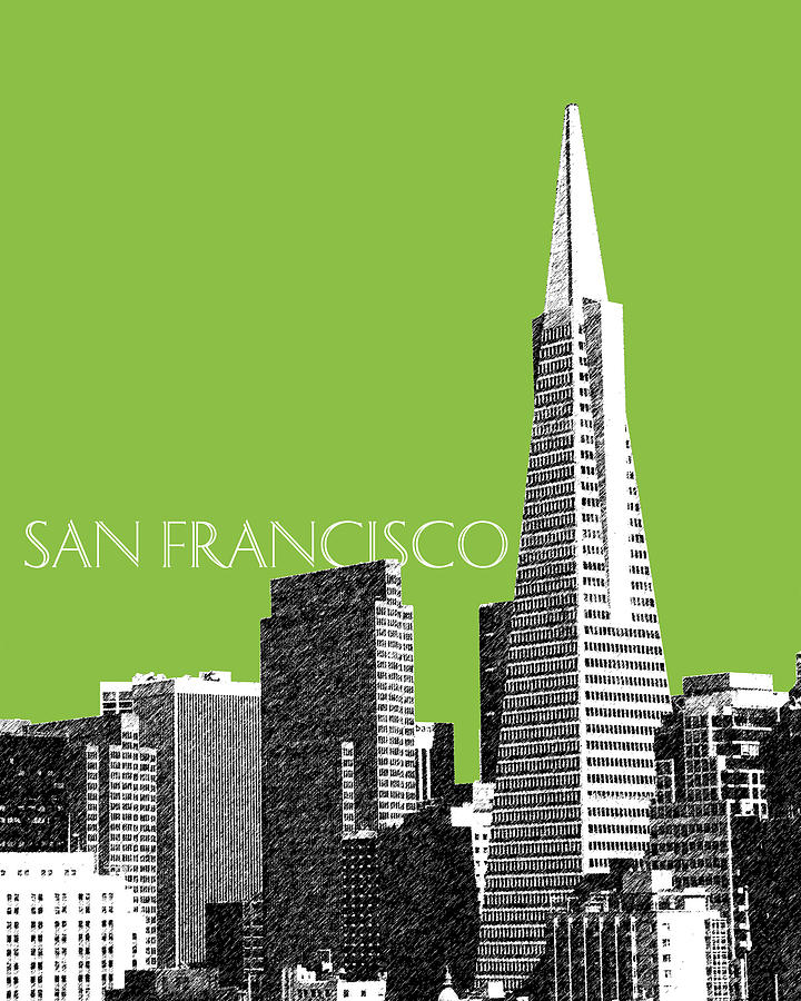Architecture Digital Art - San Francisco Skyline Transamerica Pyramid Building - Olive by DB Artist
