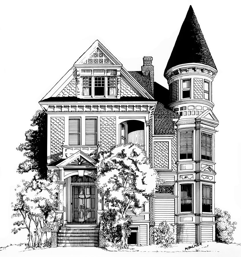 San Francisco Victorian Drawing  - San Francisco Victorian Fine Art Print