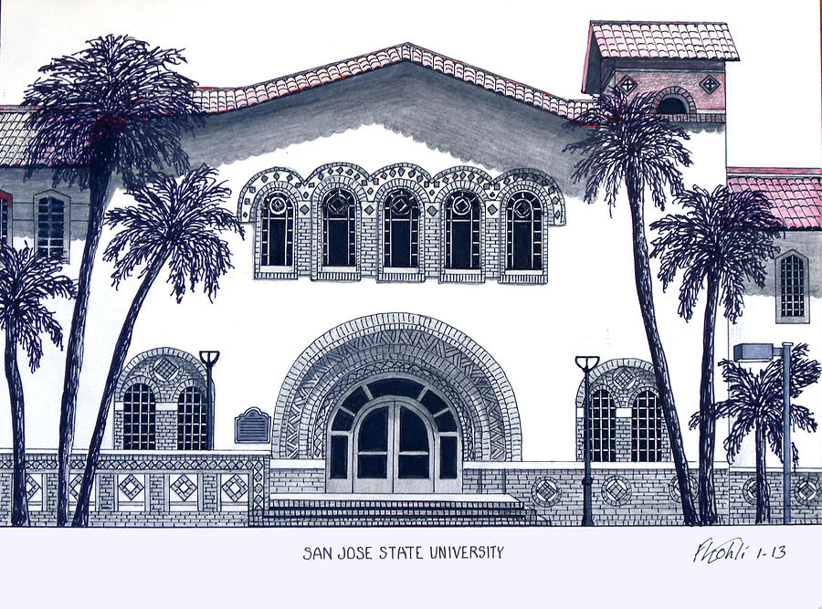 San Jose State University Drawing  - San Jose State University Fine Art Print