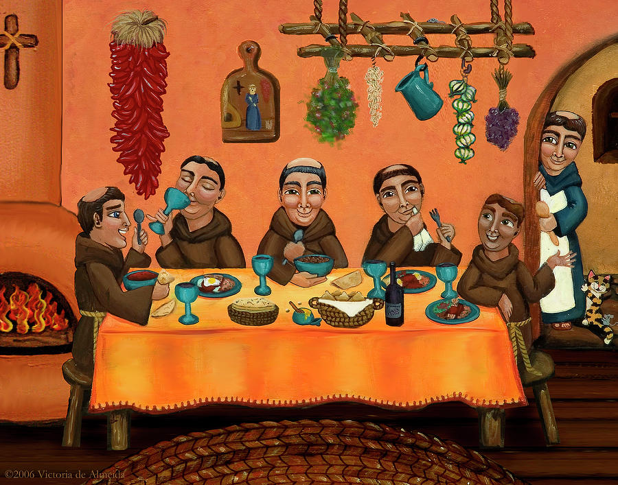 Hispanic Art Painting - San Pascuals Table by Victoria De Almeida