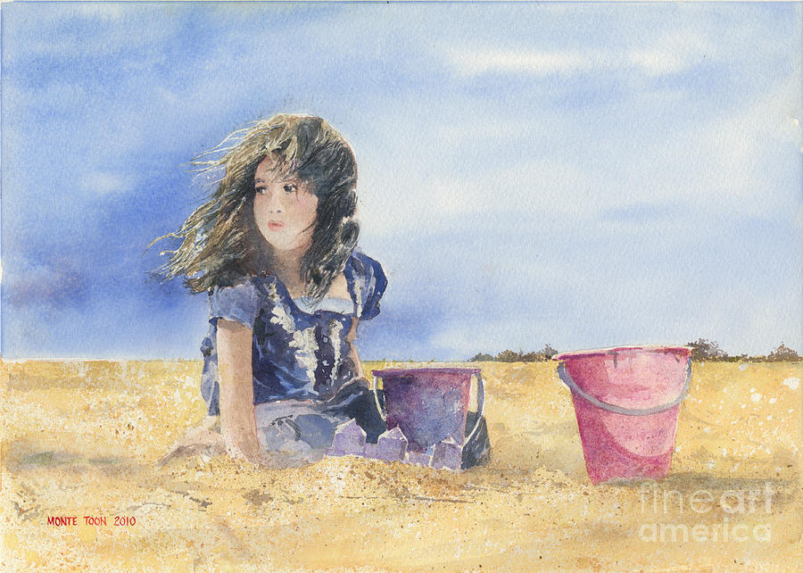A Young Girl Builds Sand Castles On The Beach. Painting - Sand Castle Dreams by Monte Toon