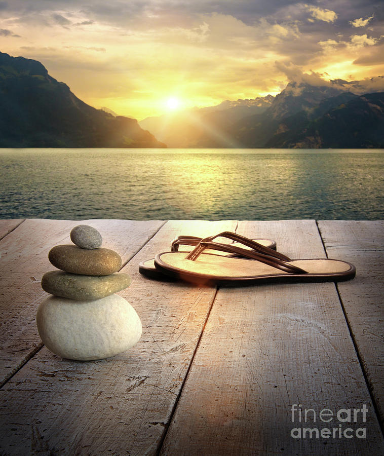 Sandals And Rocks Photograph  - Sandals And Rocks Fine Art Print