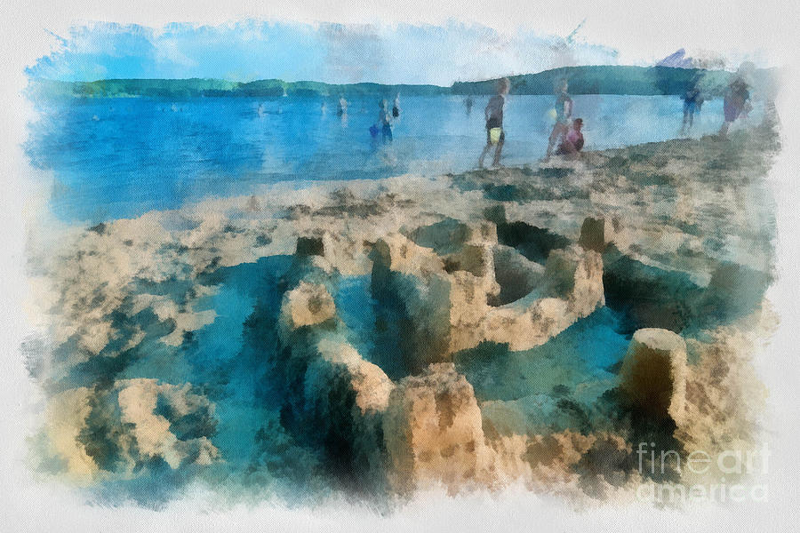 Sandcastle On The Beach Digital Art  - Sandcastle On The Beach Fine Art Print