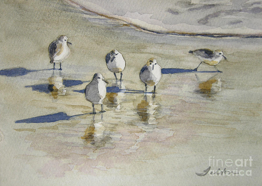 Sandpipers 2 Watercolor 5-13-12 Julianne Felton Painting  - Sandpipers 2 Watercolor 5-13-12 Julianne Felton Fine Art Print