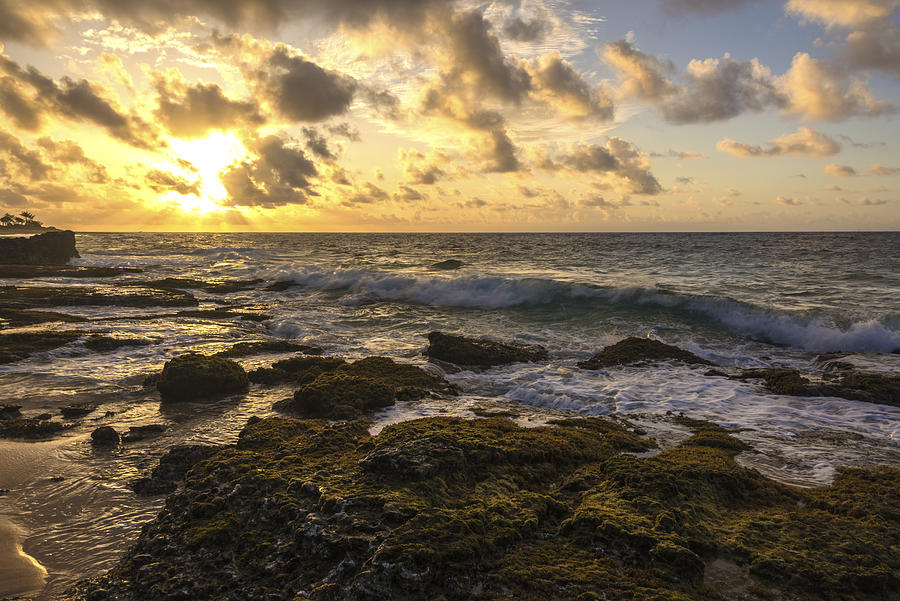 Sandy Beach Park Sunrise 11 Lava Rock Seascape Photograph - Sandy Beach Sunrise 11 - Oahu Hawaii by Brian Harig