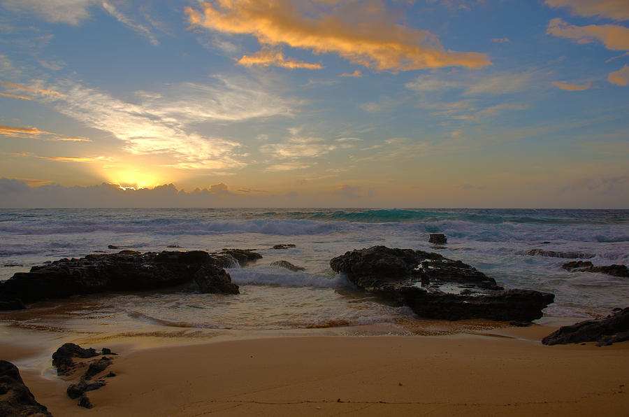 Sandy Beach Park Sunrise Lava Rock Seascape Photograph - Sandy Beach Sunrise 3 - Oahu Hawaii by Brian Harig