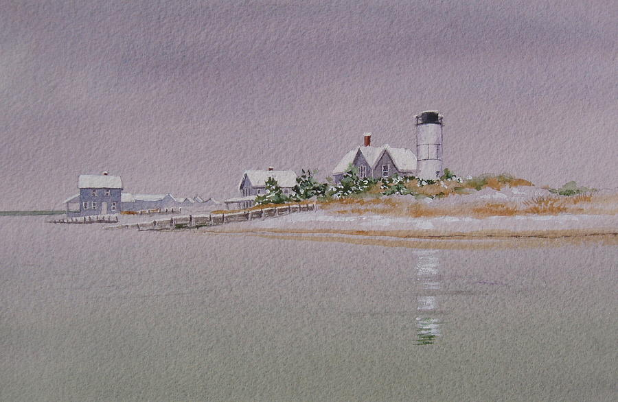 Lighthouse Painting - Sandy Neck Winter Light by Karol Wyckoff
