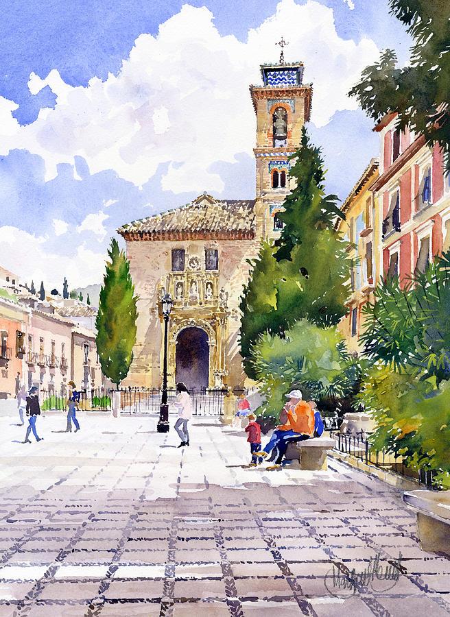 Santa ana church granada painting by margaret merry - Santa ana granada ...