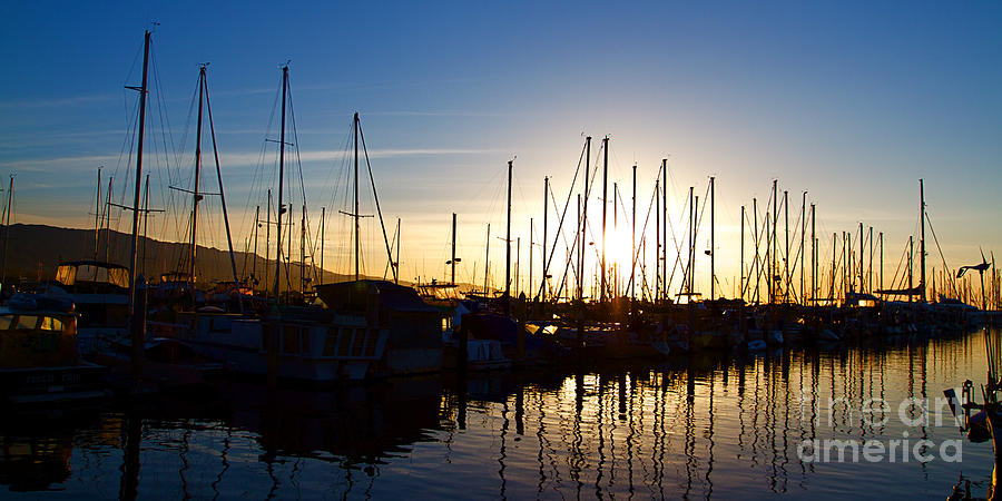 Santa Barbara Harbor With Yachts Boats At Sunrise In Silhouette Photograph  - Santa Barbara Harbor With Yachts Boats At Sunrise In Silhouette Fine Art Print