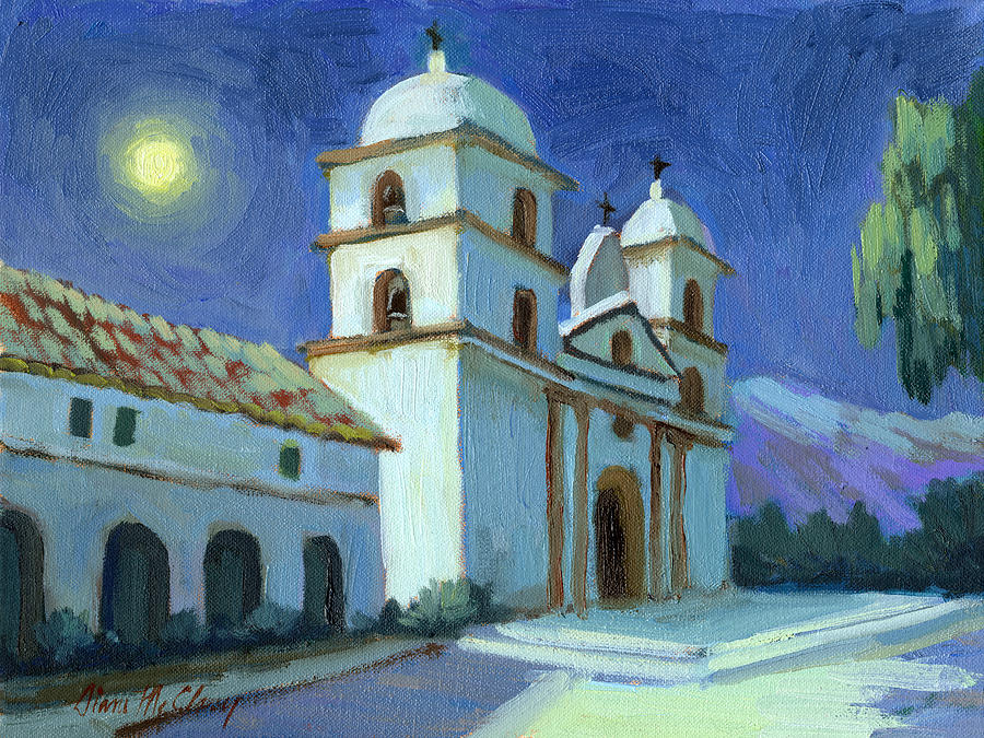 Santa barbara mission moonlight painting by diane mcclary for Case in stile missione santa barbara