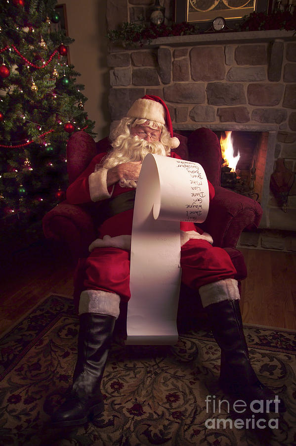 Santa Checking His List Photograph