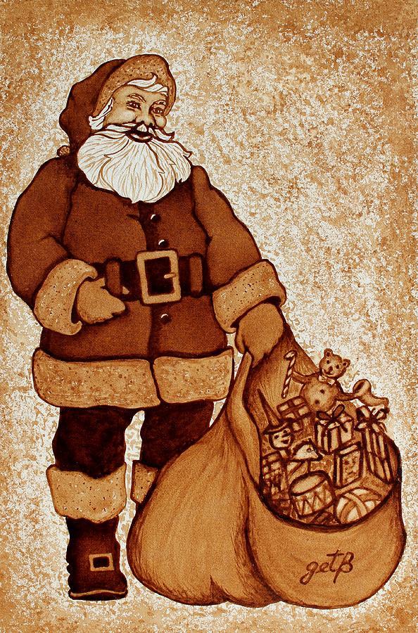 Santa Coffee Art Painting - Santa Claus Bag by Georgeta  Blanaru