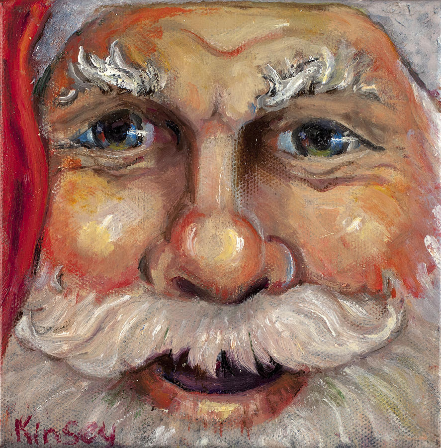 Santa Closeup Painting  - Santa Closeup Fine Art Print