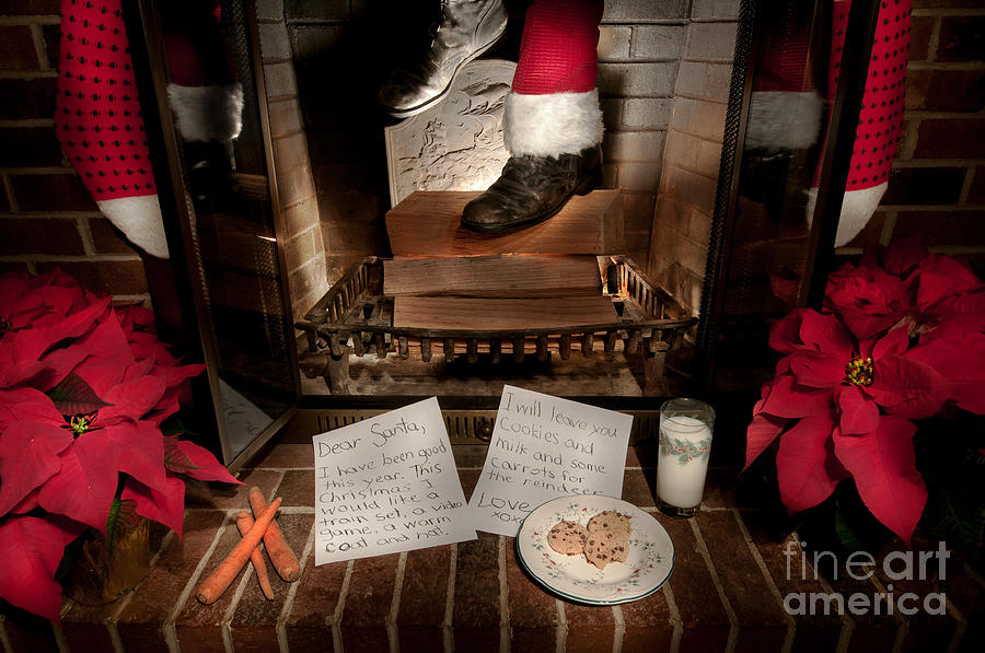 santa coming down the chimney photograph by gene bleile