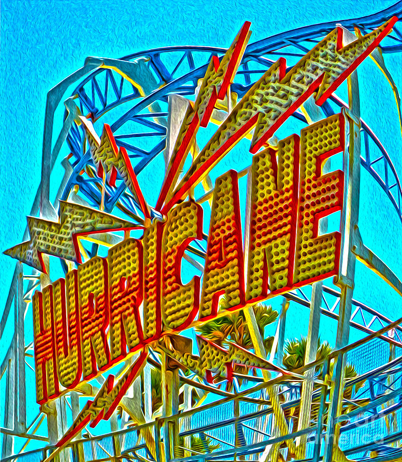 Santa Cruz Boardwalk - Hurricane Painting  - Santa Cruz Boardwalk - Hurricane Fine Art Print