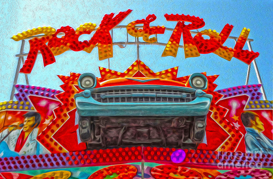Santa Cruz Boardwalk - Rock And Roll Painting  - Santa Cruz Boardwalk - Rock And Roll Fine Art Print