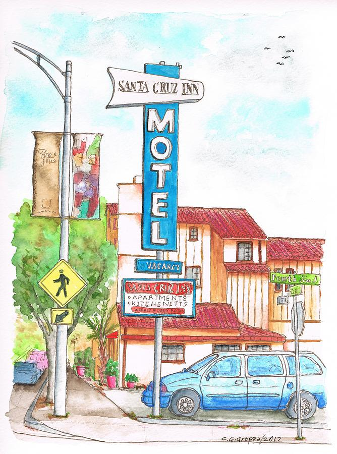 Santa Cruz Inn Motel In Riverside - California Painting