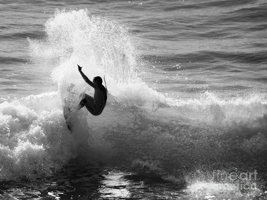 Santa Cruz Surfer Black And White Photograph