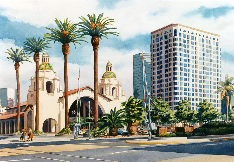 Santa Fe Painting - Santa Fe Depot San Diego by Mary Helmreich