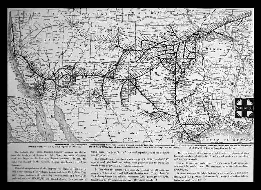 Santa Fe Railroad Map Bw By Thomas Woolworth