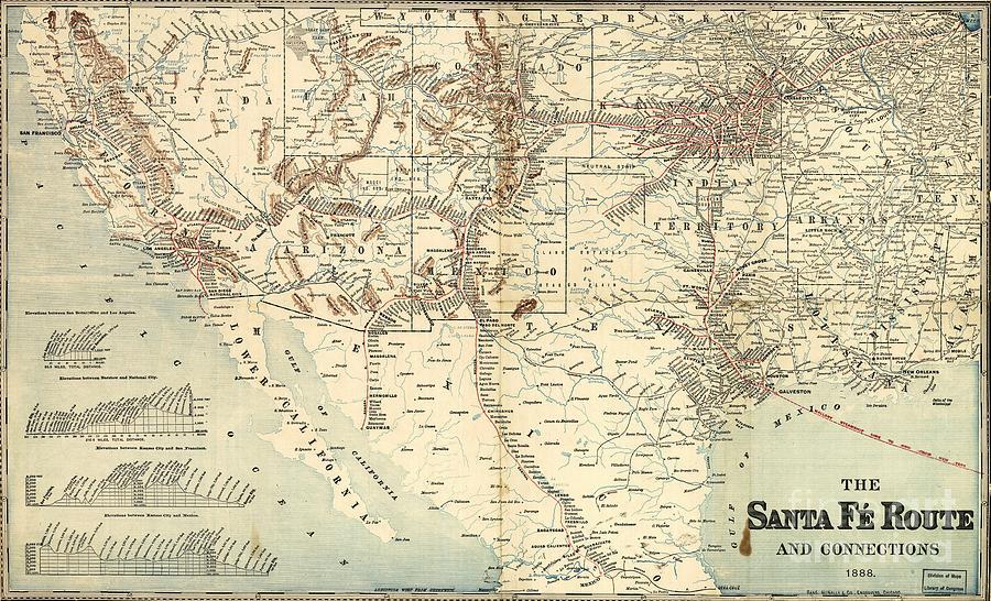 Santa Fe Railroad Routes  1888 Drawing