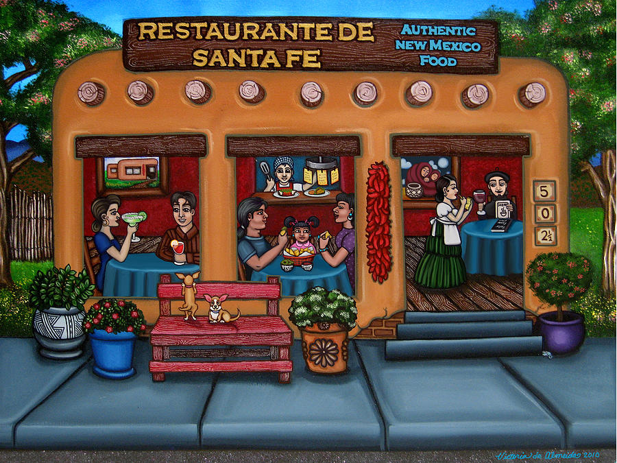 Folk Art Painting - Santa Fe Restaurant by Victoria De Almeida