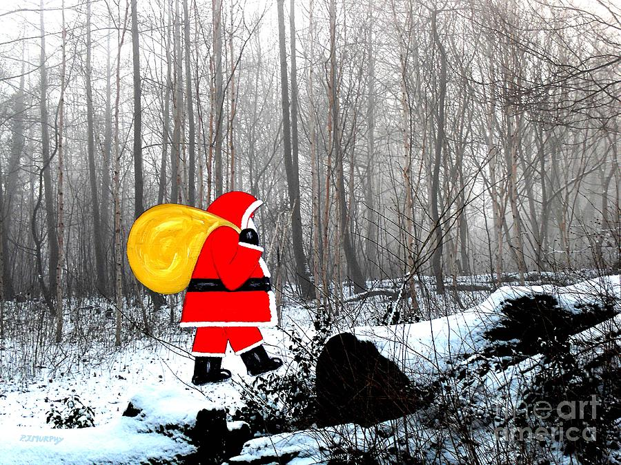 Santa In Christmas Woodlands Photograph  - Santa In Christmas Woodlands Fine Art Print
