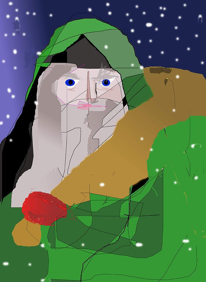 Santa In Green Painting  - Santa In Green Fine Art Print