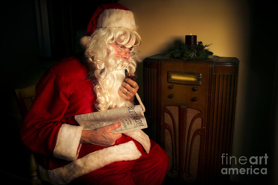 Santa Listening To The Weather Report Photograph
