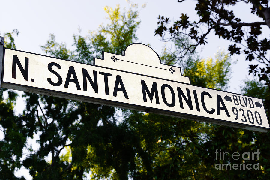 Santa Monica Blvd Street Sign In Beverly Hills Photograph  - Santa Monica Blvd Street Sign In Beverly Hills Fine Art Print