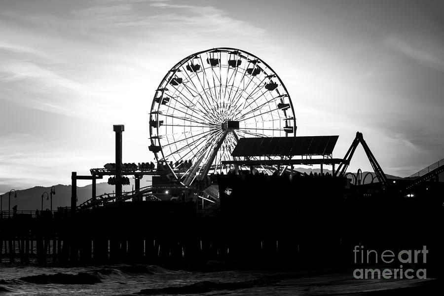 Santa Monica Ferris Wheel Black And White Photo Photograph