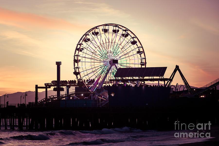 Santa Monica Pier Ferris Wheel Retro Photo Photograph