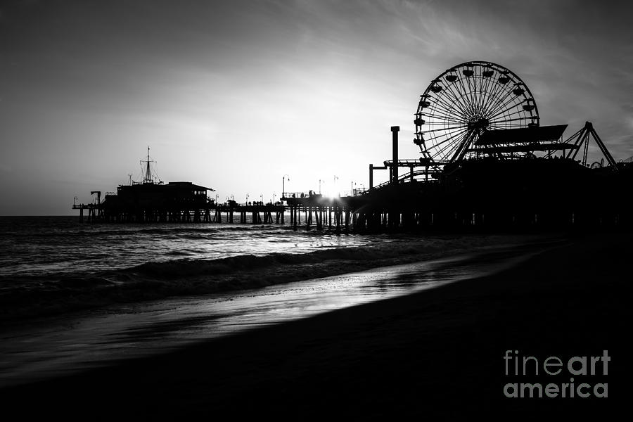Santa Monica Pier In Black And White Photograph