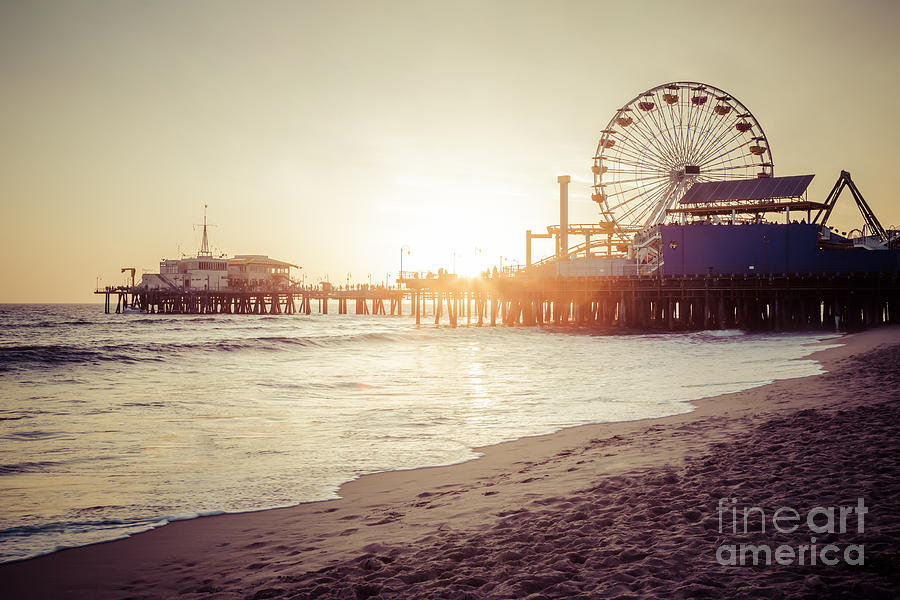 Santa Monica Pier Retro Sunset Picture Photograph