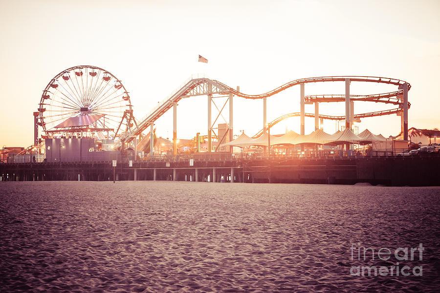 Santa Monica Pier Roller Coaster Retro Photo Photograph