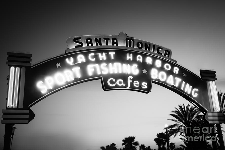 Santa Monica Pier Sign In Black And White Photograph