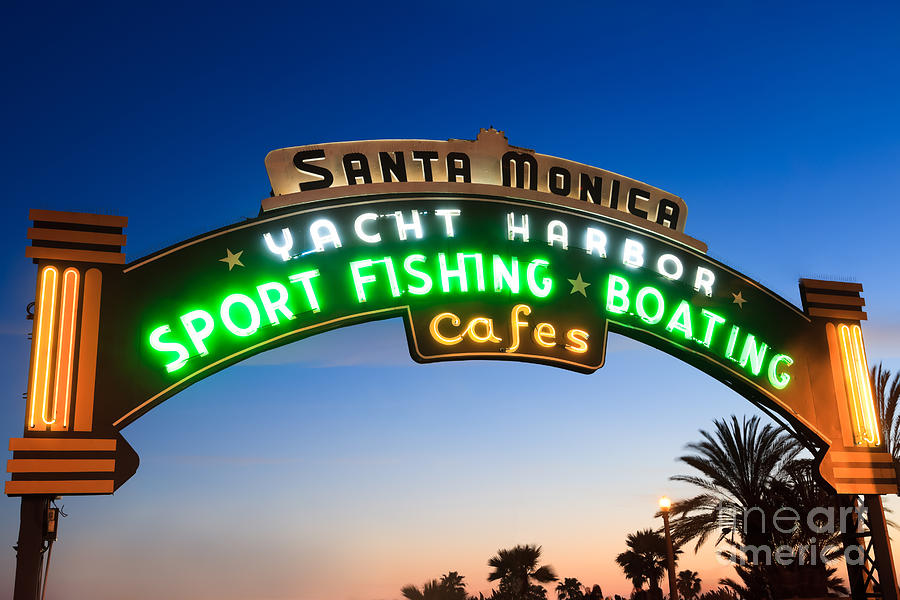 California Photograph - Santa Monica Pier Sign by Paul Velgos