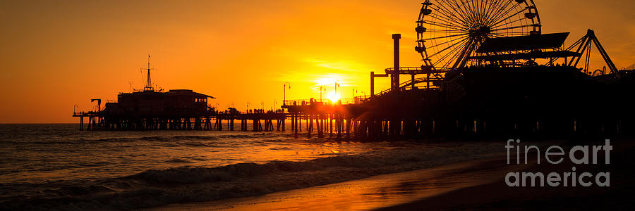 Santa Monica Pier Sunset Panorama Photo Photograph