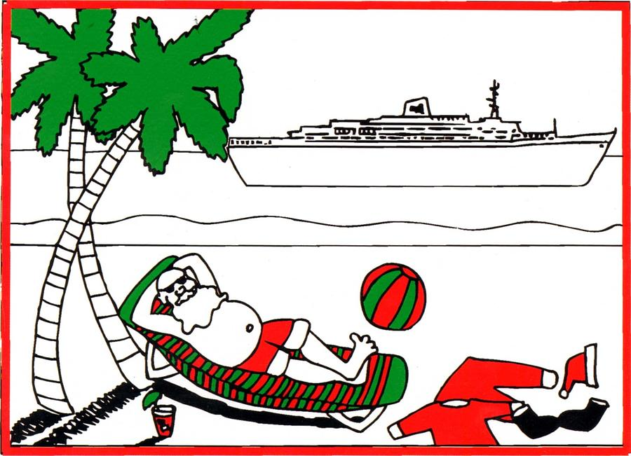 Santa On Vacation Painting  - Santa On Vacation Fine Art Print