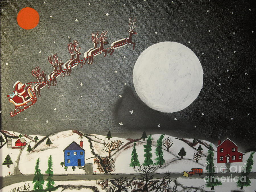 Santa Over The Moon Painting  - Santa Over The Moon Fine Art Print