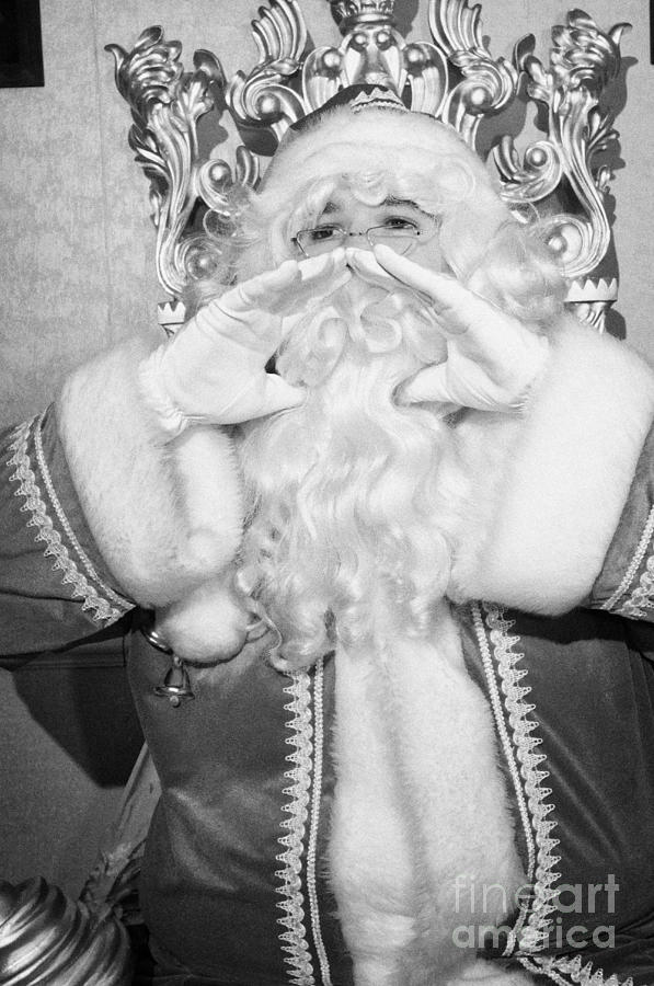 Santa Sitting On His Throne In Grotto Calling Out Photograph  - Santa Sitting On His Throne In Grotto Calling Out Fine Art Print