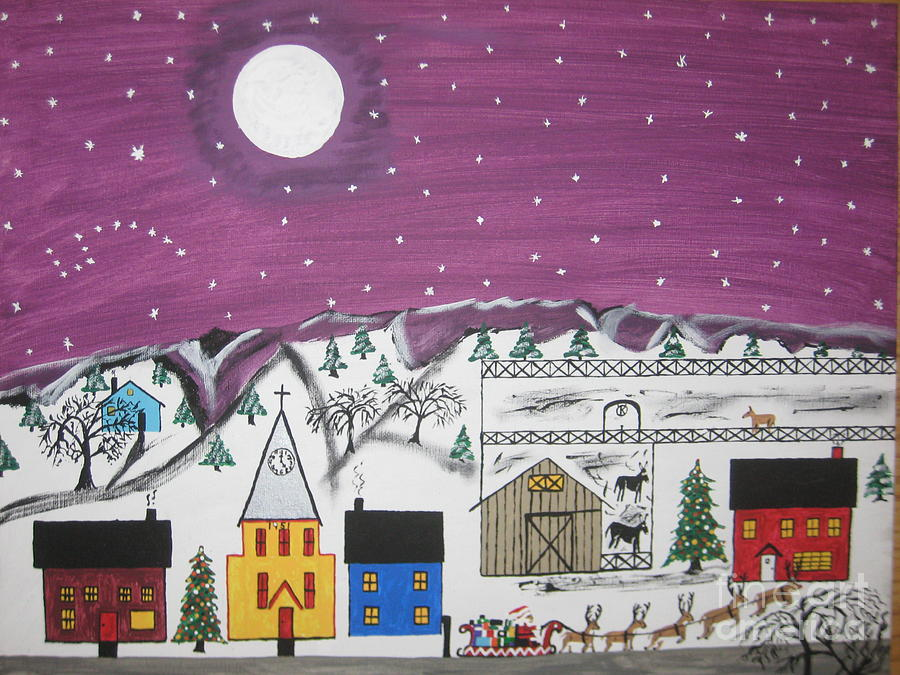 Santa Under The Little Dipper Painting