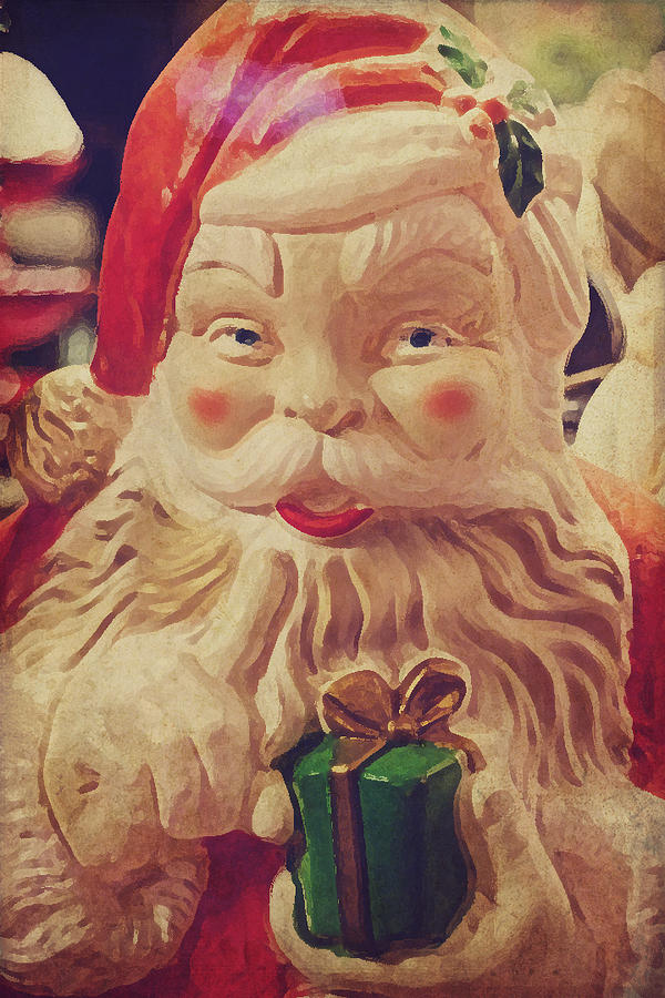 Santa Whispers Vintage Photograph  - Santa Whispers Vintage Fine Art Print