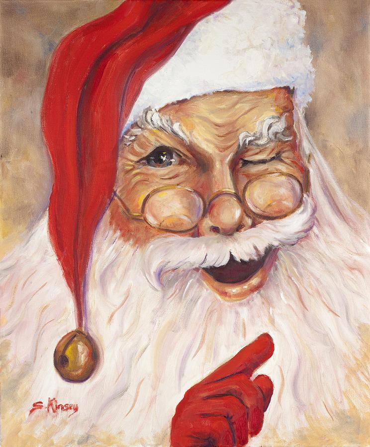 Santa Painting - Santa Winking I by Sheila Kinsey