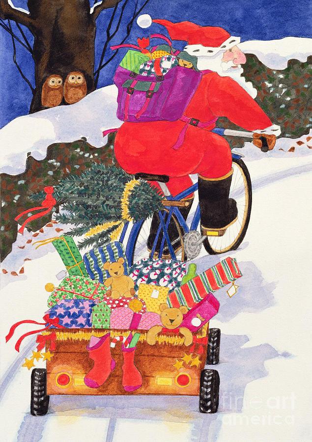 Toys; Owl; Trailer; Teddy Bear; Presents; Bicycle; Snow; Father Christmas Painting - Santas Bike by Linda Benton